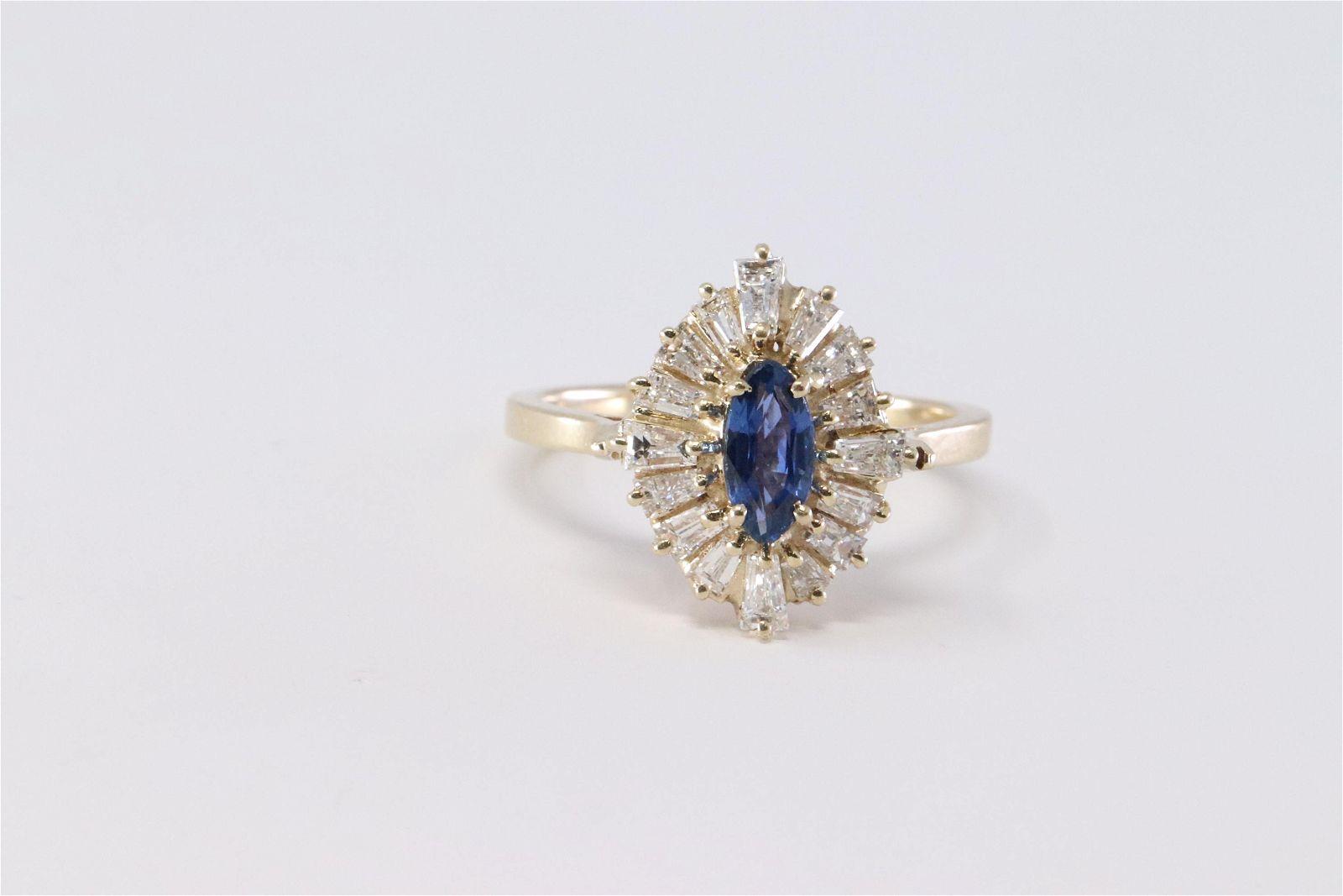14Kt Baguette Diamonds w/ Sapphire Stone in Center