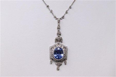 18Kt Vintage Sapphire Necklace w/ Round Diamonds (GIA)