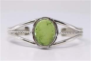 Native American Navajo Handmade Sterling Silver Green