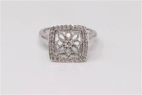 14KT White Diamond Ladies Ring.