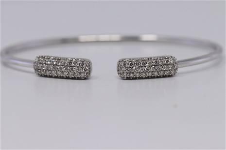 14KT White Gold Diamond Bangle Modern Design