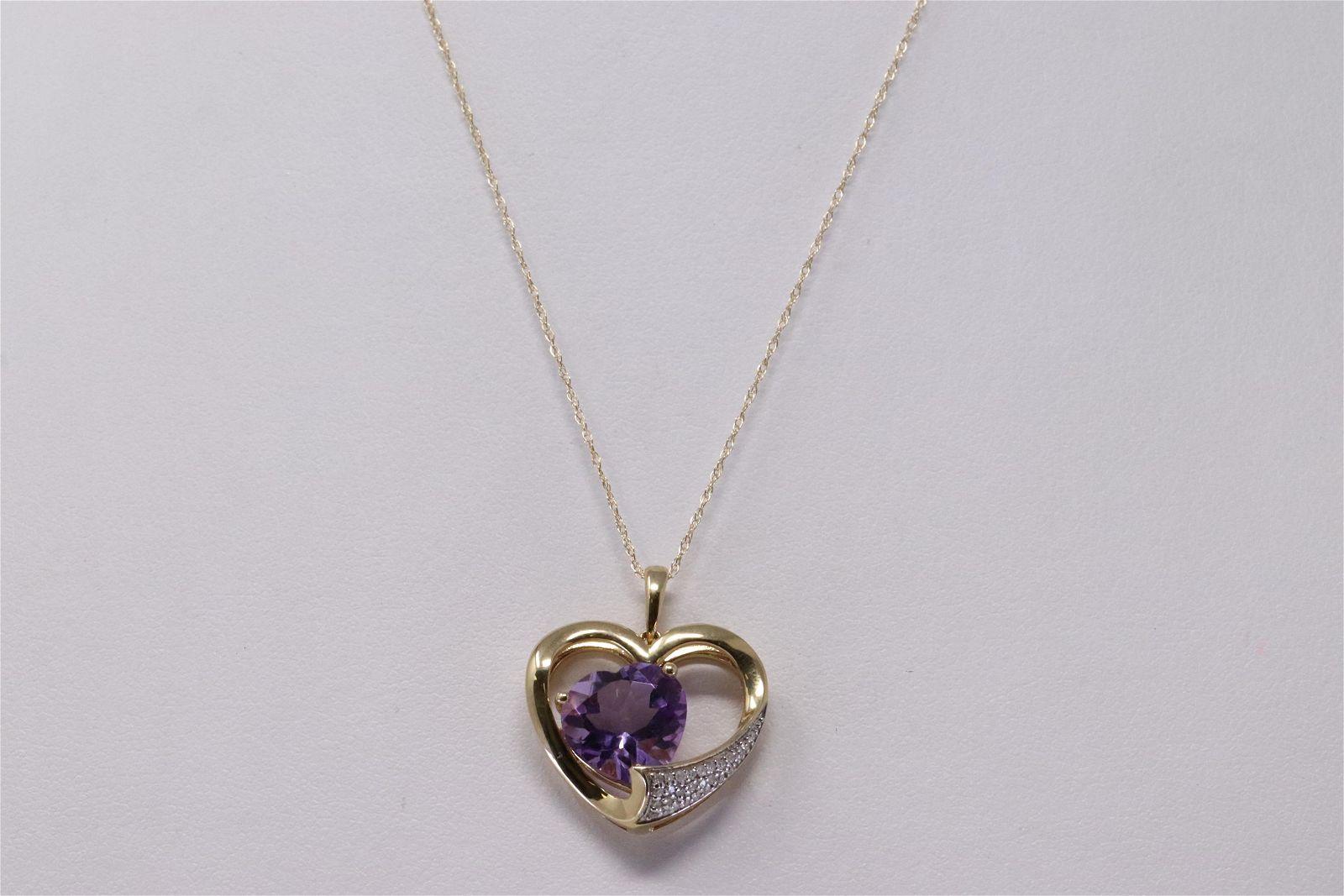 14K Yellow Gold Heart Amethyst Diamond Pendant.