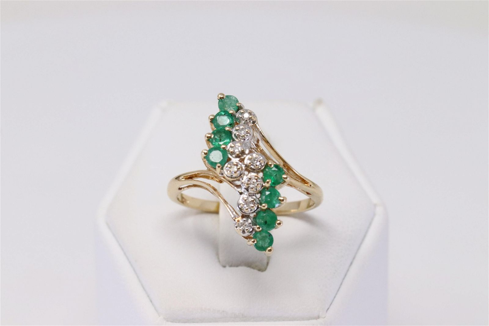 14Kt Yellow Gold Emerald Diamond Ring.