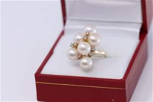 14KT Yellow Gold Diamond Pearl Ladies Ring
