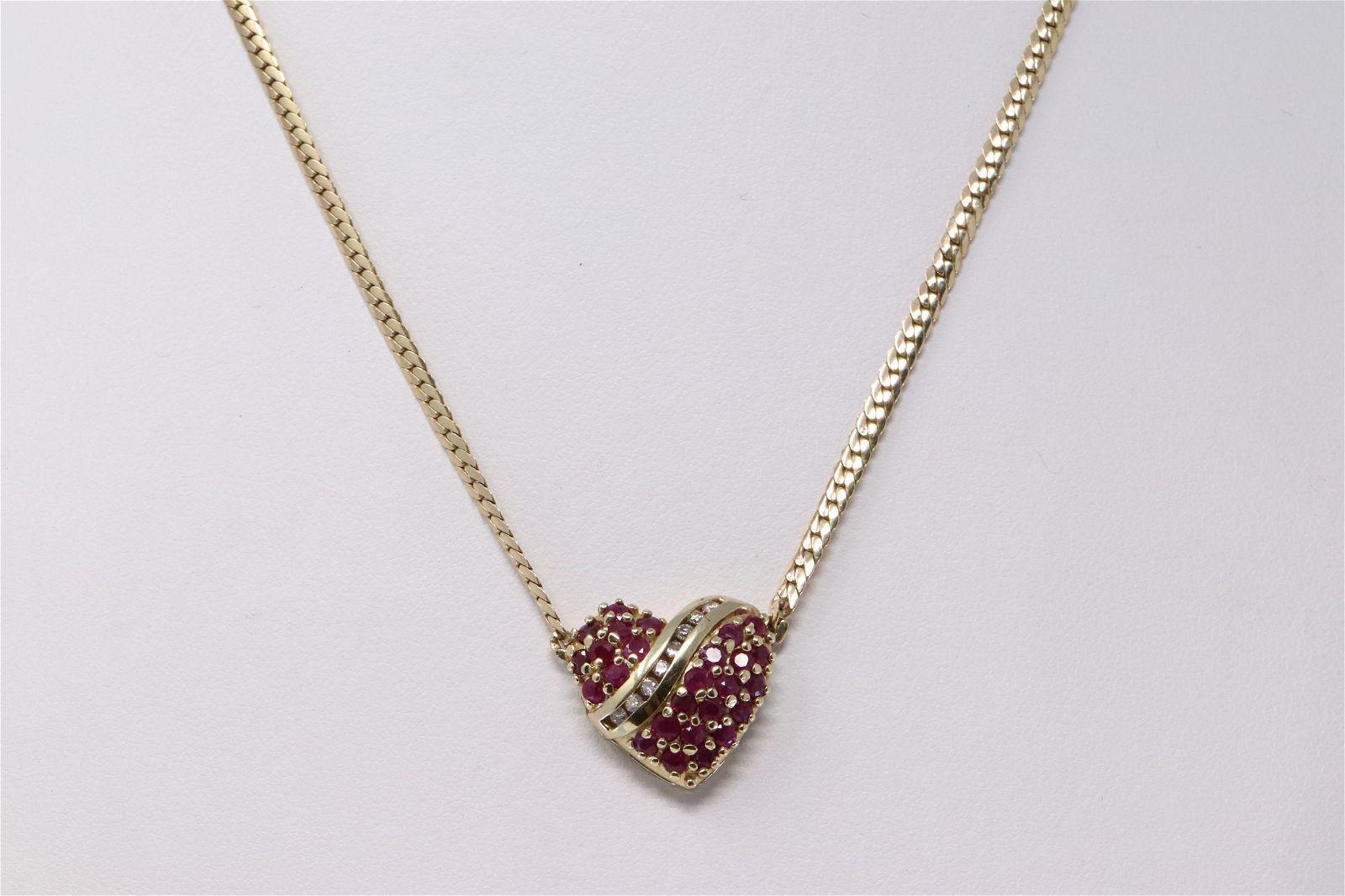14Kt Yellow Gold Diamond Heart Necklace.