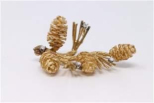 14KT Yellow Gold Vintage Diamond Pitch Pine Brooch.