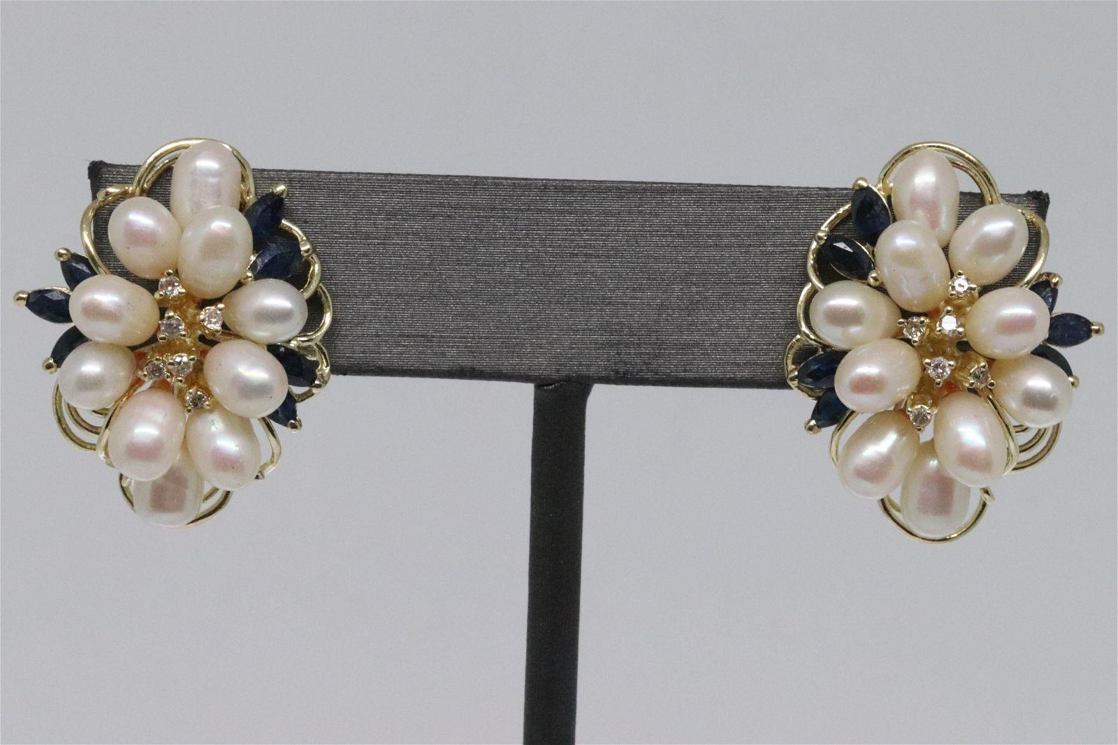 14Kt Diamond | Sapphire | Pearl Earrings