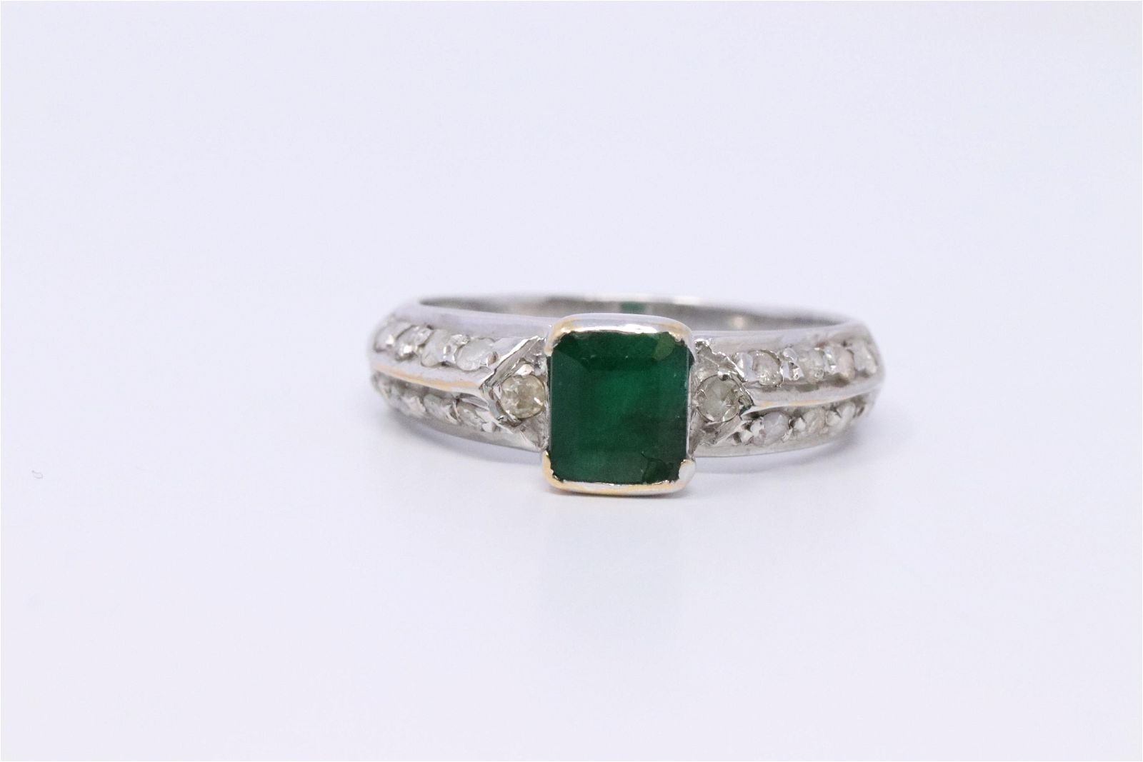 18Kt Art Deco Diamond- Emerald Ring