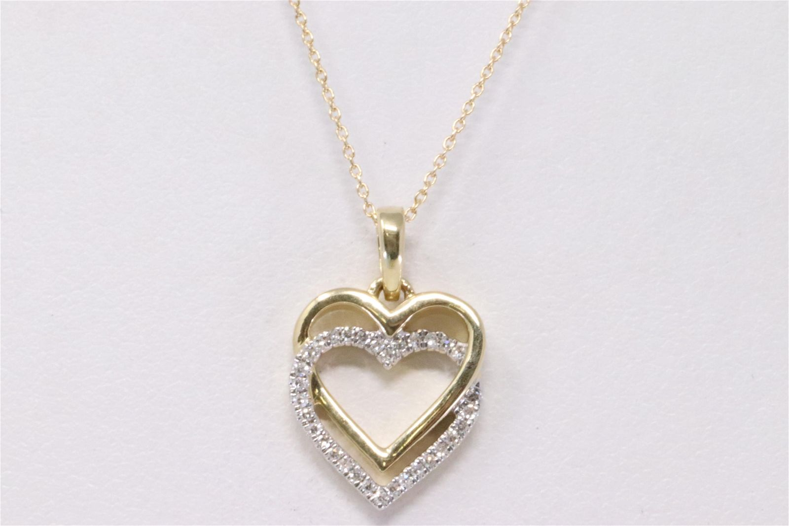 14KT Yellow Gold Double Heart Diamond Pendant
