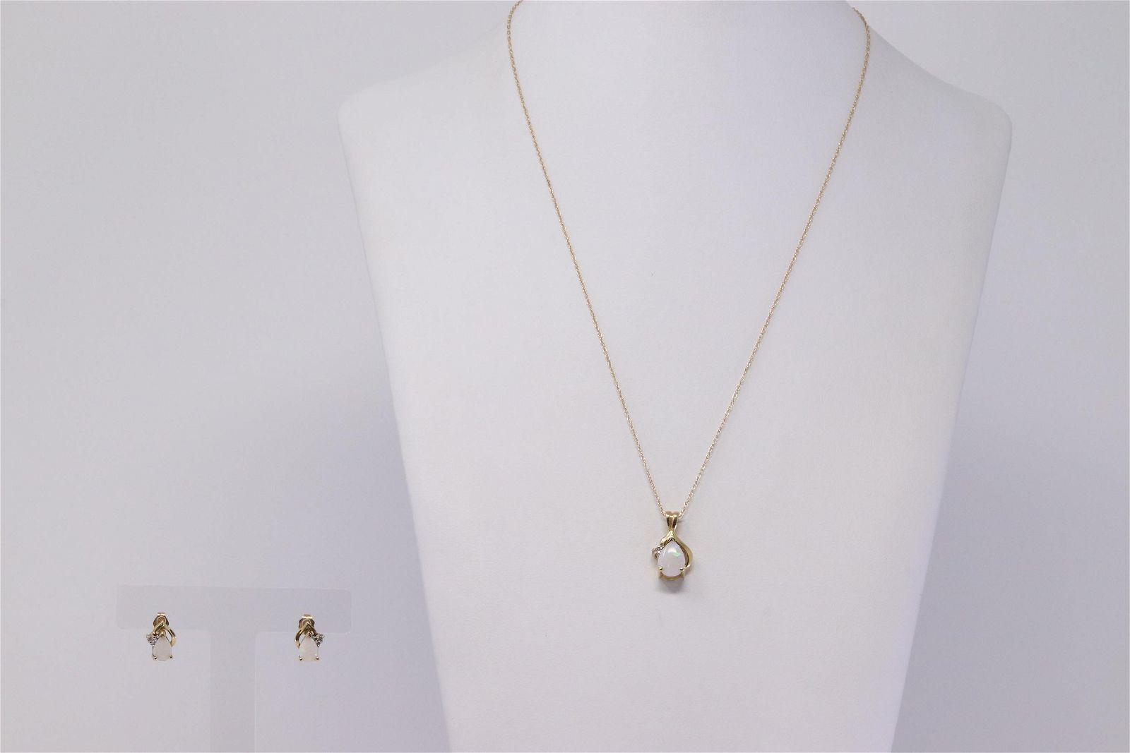 14Kt Yellow Gold Opal Diamond Set.