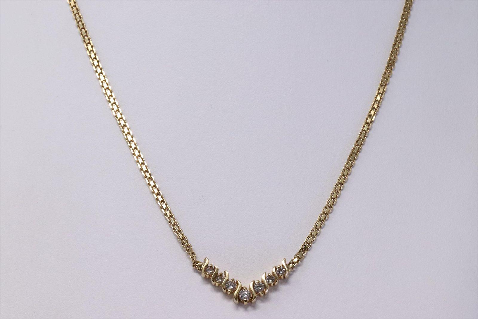 14KT V Diamond Necklace