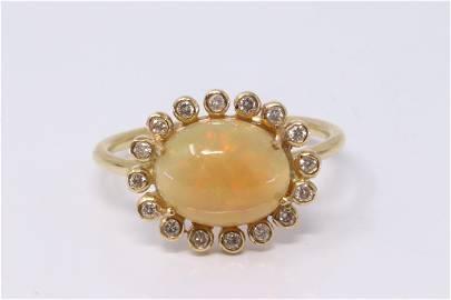 18Kt Yellow Gold Opal | Diamond Ring.