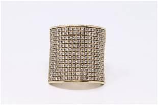 14Kt Yellow Gold Band Wrap Diamond Ring.