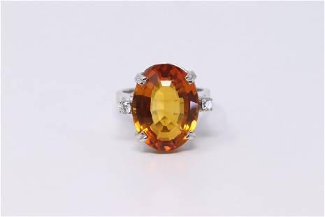 14KT Ladies Diamond   Citirine Ring