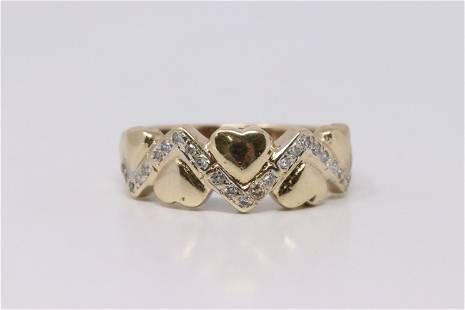 Yellow Gold Heart Diamond Ring.