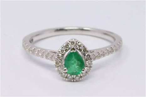 14Kt White Gold Emerald Diamond Ring.