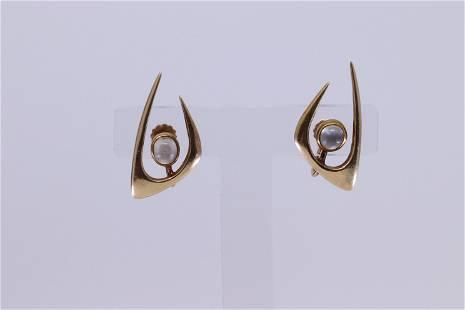 14KT Art Deco Moon Stone Earrings