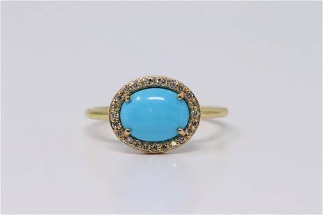 18Kt Turqoise   Diamond Ring