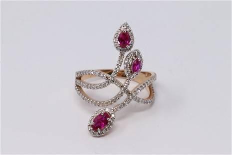 14Kt Rose Gold Ruby Diamond Ring.