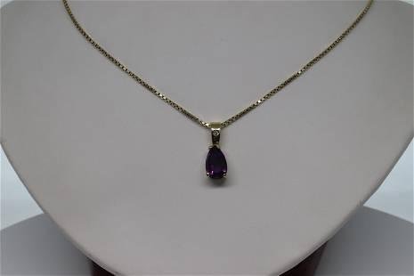 14kt Diamond & Amethyst Necklace