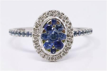 14Kt White Gold Sapphire & Diamond Ring.