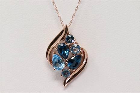 Rose Gold Blue Topaz Pendant.