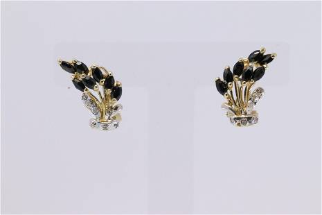14Kt Diamond/Sapphire Earrings