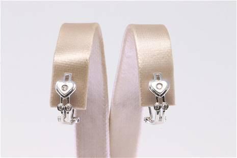 14Kt White Gold Diamond Heart Earring.