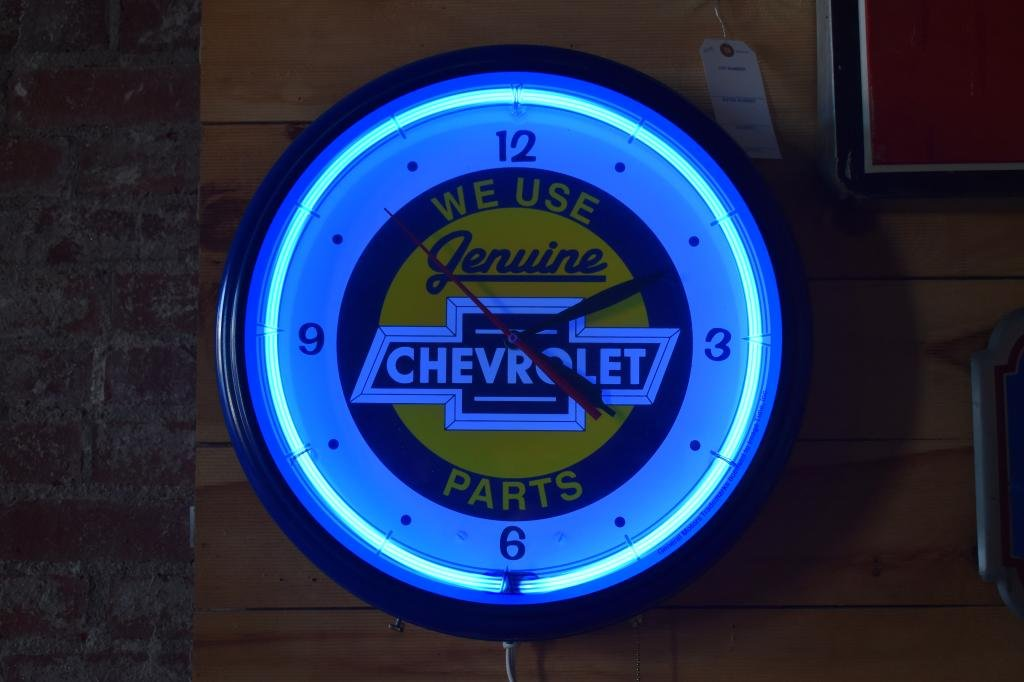 "Chevrolet Genuine Parts Neon Clock 19.5""  Works Great!"