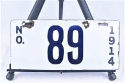 1914 New Orleans Porcelain License Plate #89