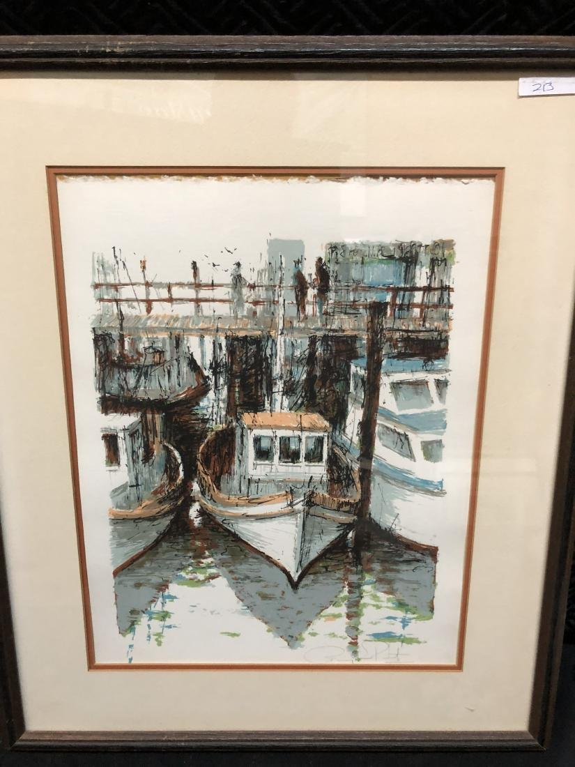 Signed Fishing Boat Dock Art