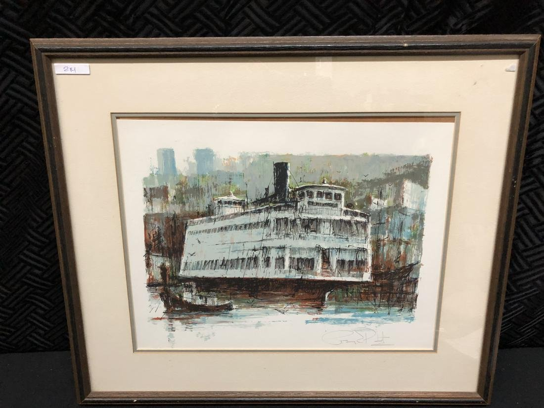 Signed Paddle Wheel Boat Ship Art