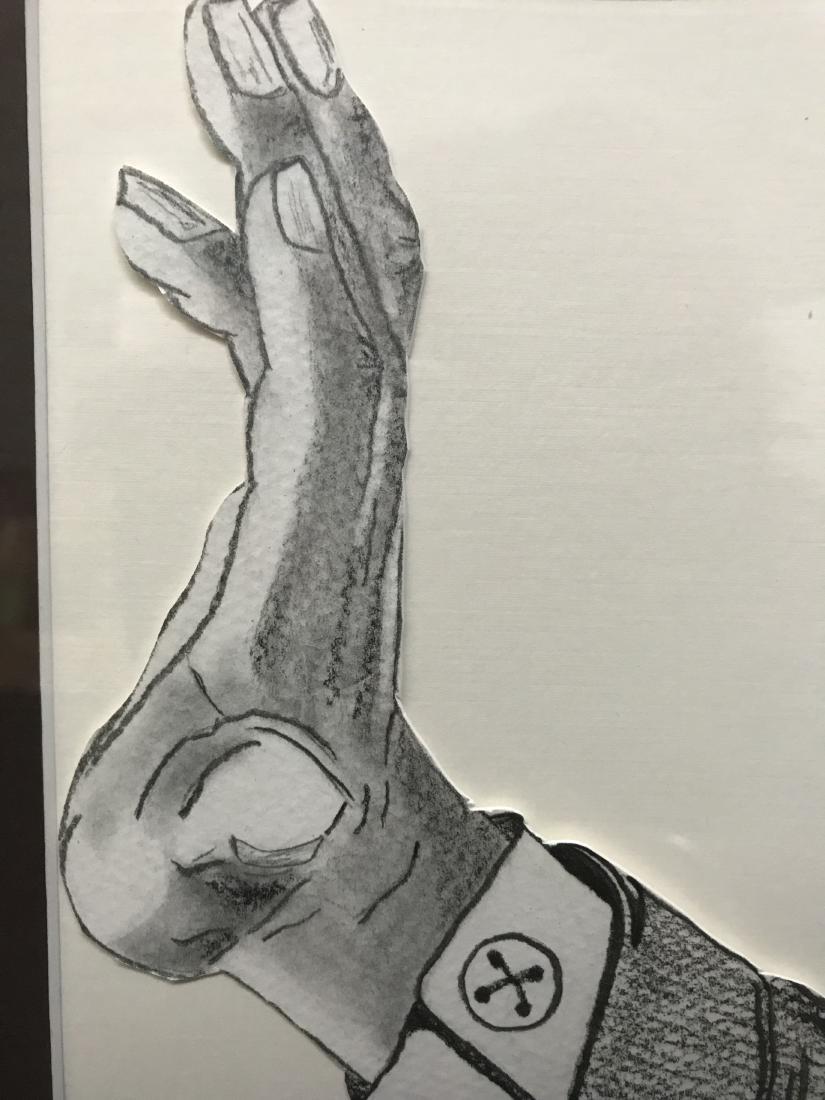 Drew Davis Signed art Black Man with Hand Raised - 5