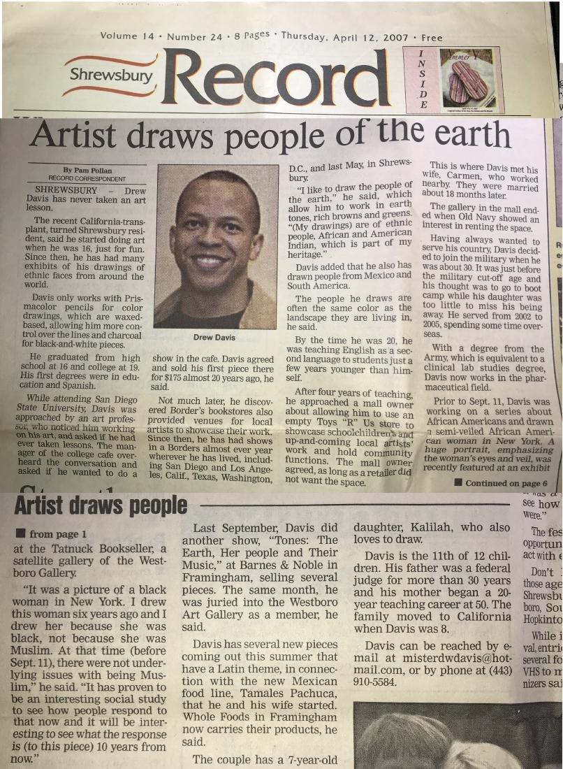Drew Davis Signed art Black Man with Hand Raised - 6