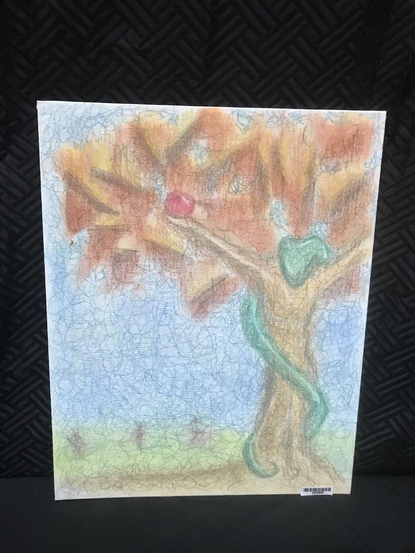 Drew Davis Original Chalk Drawing Snake Apple Tree