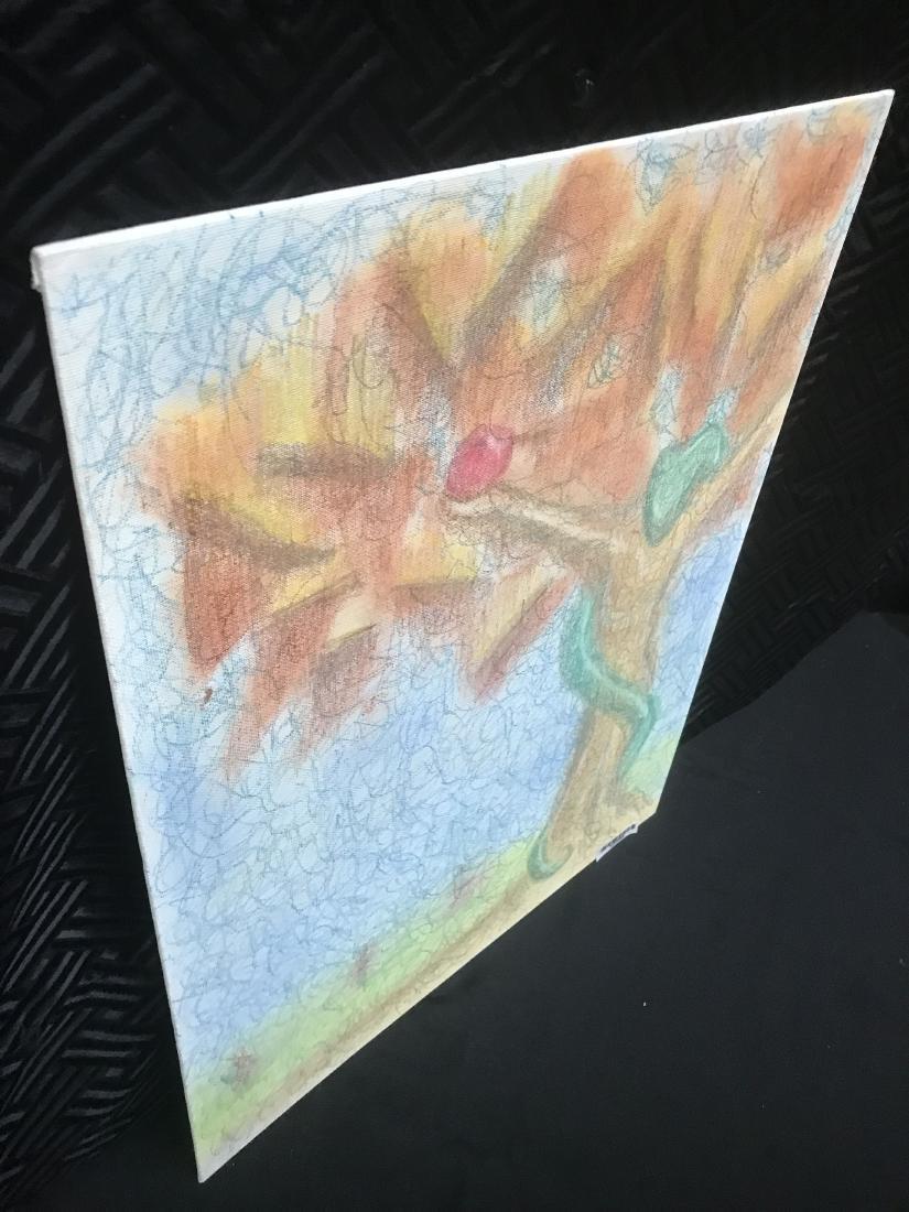 Drew Davis Original Chalk Drawing Snake Apple Tree - 4