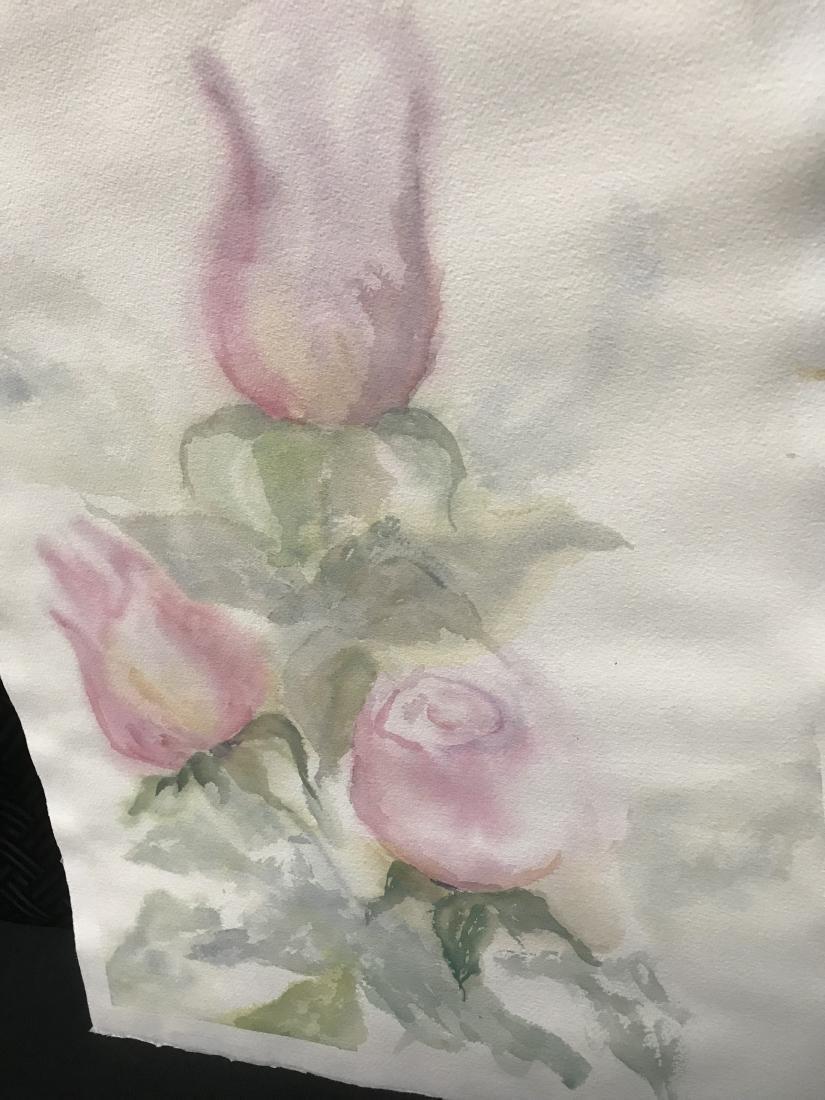 Watercolor of Rose Buds - 4