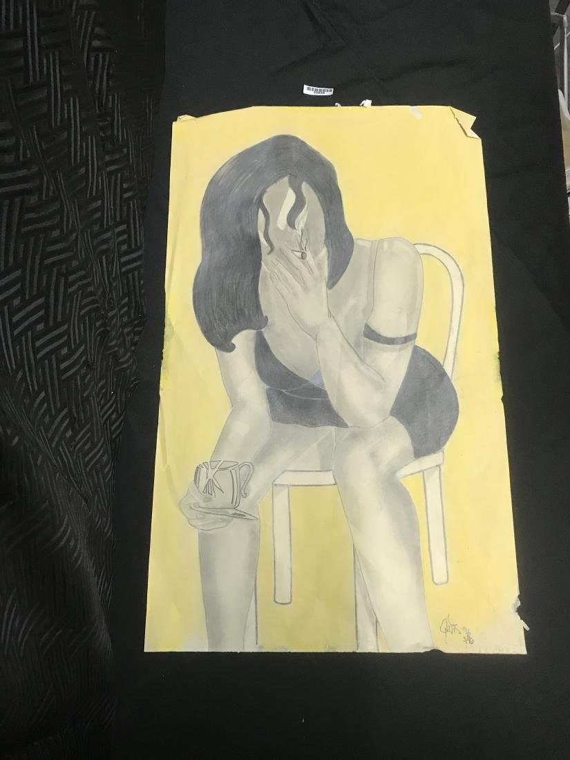 Drew Davis Signed Numbered Black Woman and Chair