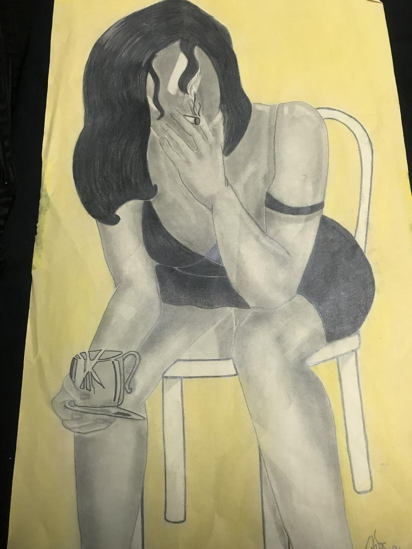 Drew Davis Signed Numbered Black Woman and Chair - 7