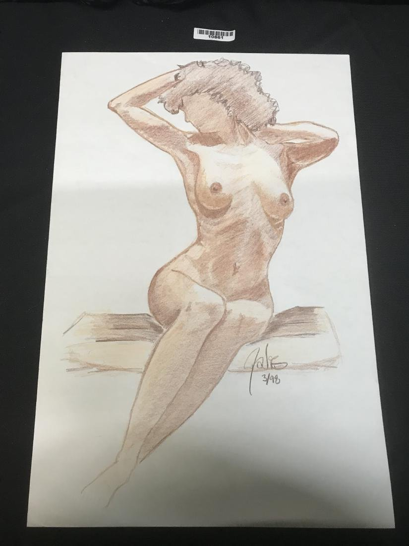 Drew Davis Signed and Numbered Woman on Bench