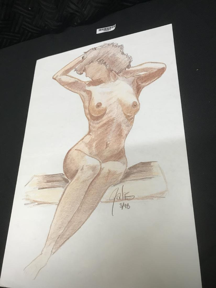 Drew Davis Signed and Numbered Woman on Bench - 4