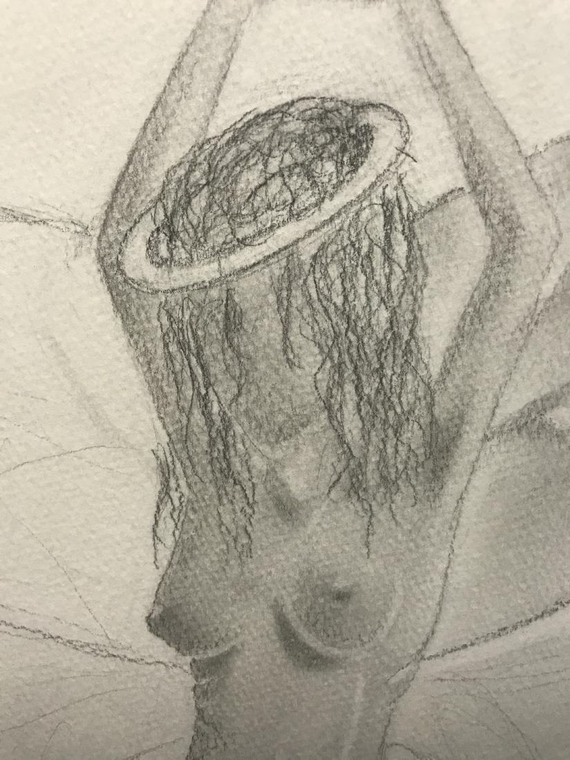 Drew Davis Original Pencil Study of Nude Woman with - 3