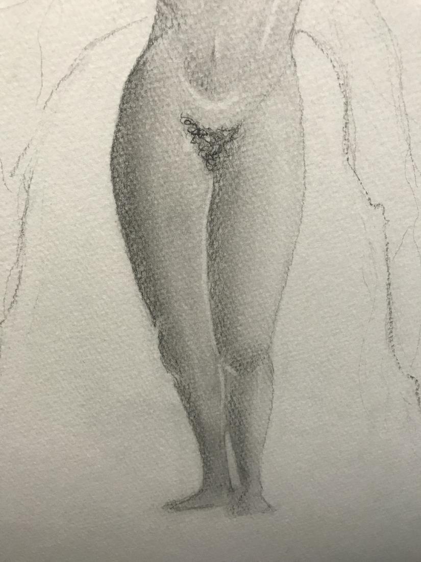 Drew Davis Original Pencil Study of Nude Woman with - 4