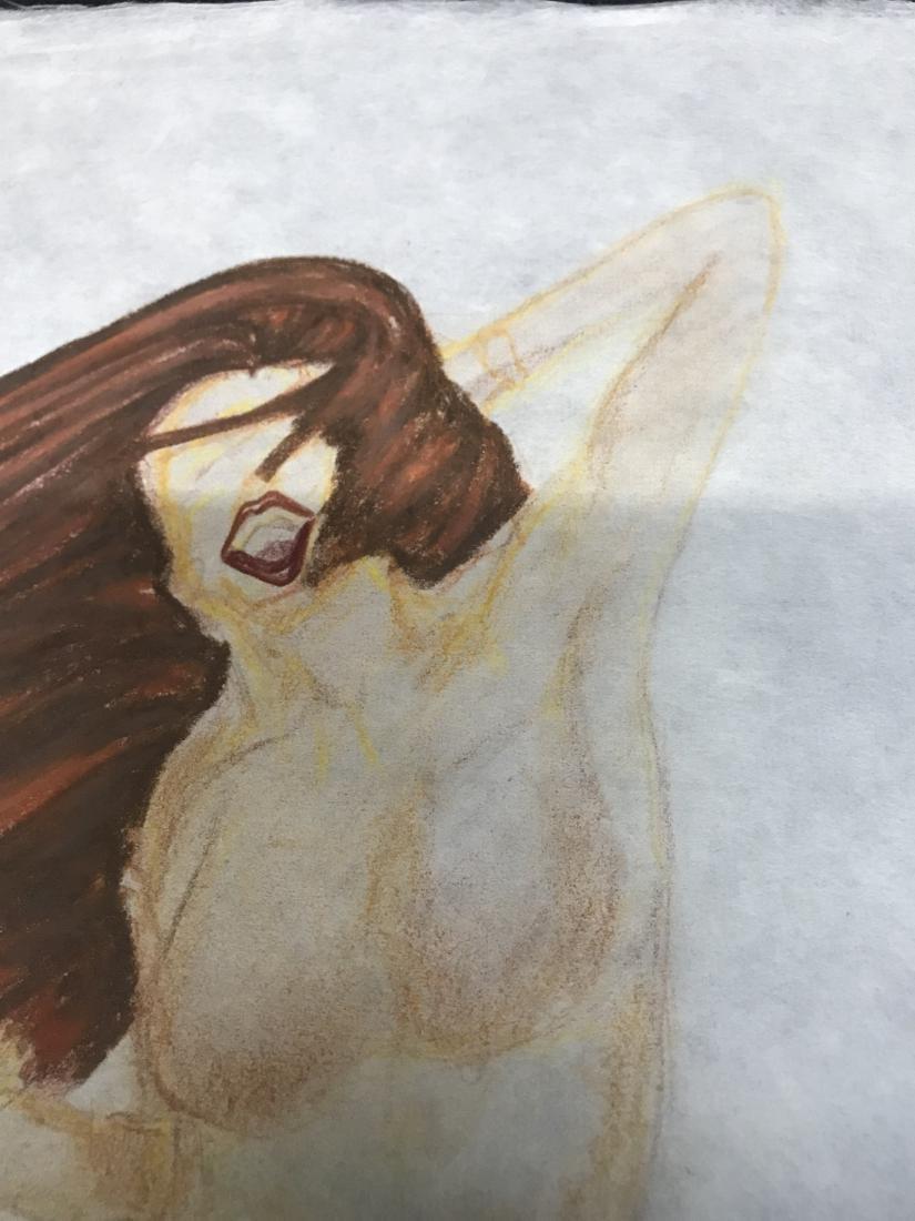 Drew Davis Original Study of Nude Woman in Blue Jeans - 2