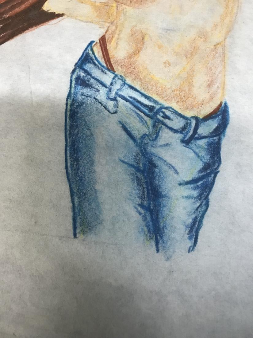 Drew Davis Original Study of Nude Woman in Blue Jeans - 3