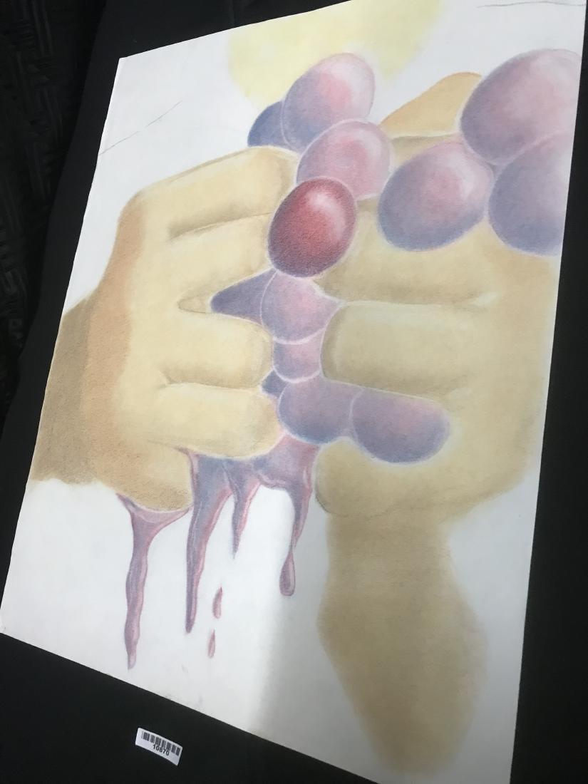 Drew Davis Original Study of Hands Squeezing Red Grapes - 3