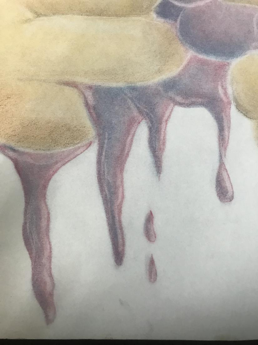 Drew Davis Original Study of Hands Squeezing Red Grapes - 4