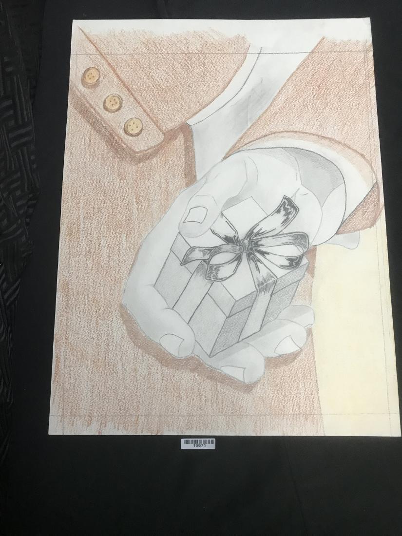 Drew Davis Original Study of Hand Holding Small Wrapped