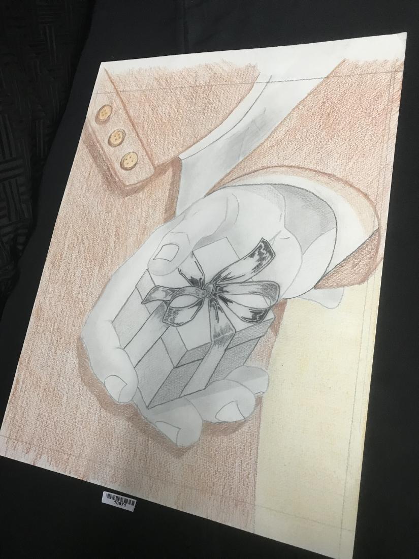 Drew Davis Original Study of Hand Holding Small Wrapped - 3