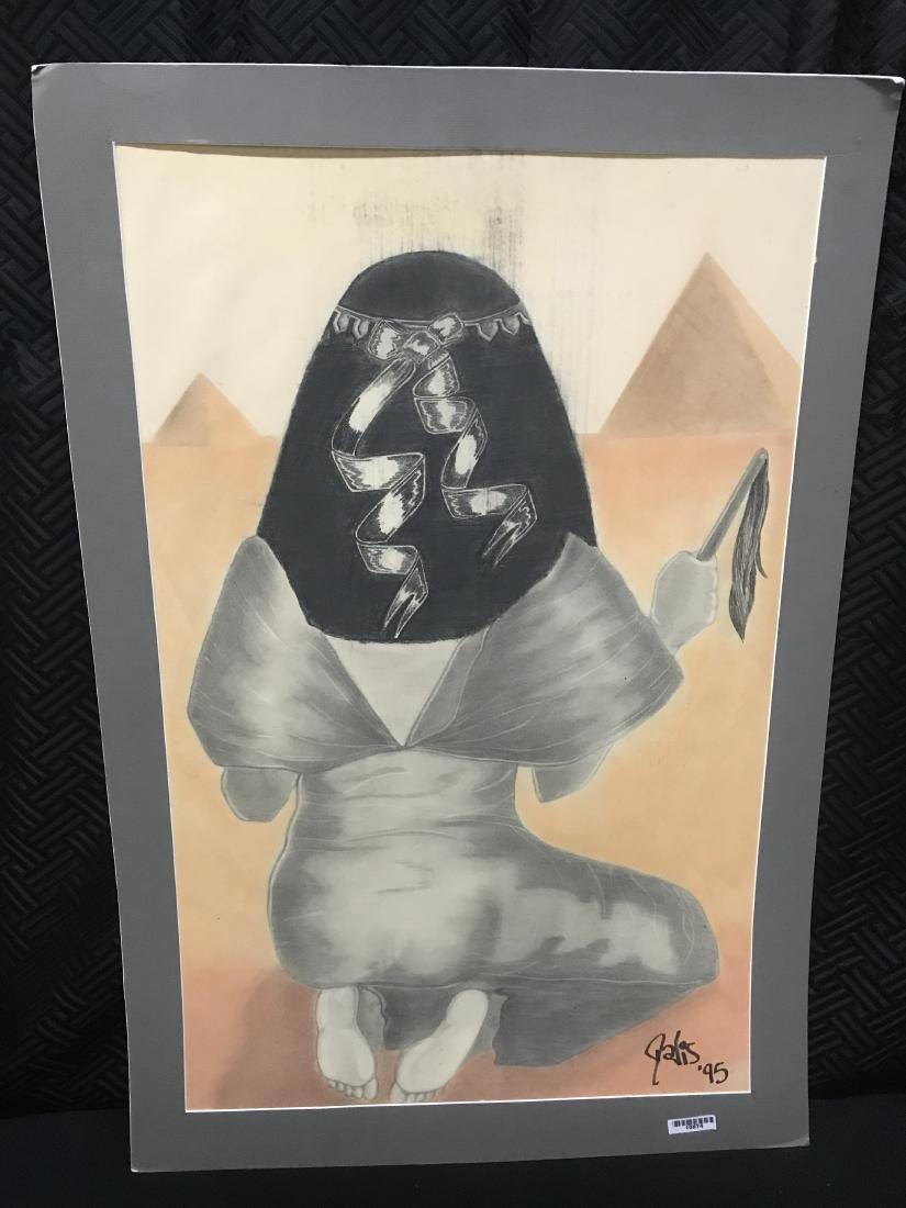 Drew Davis Original Woman from the Back with Pyramids